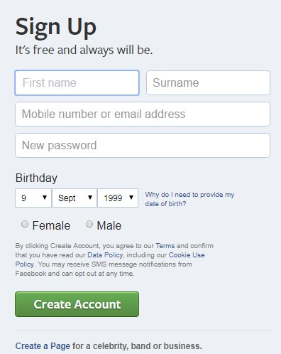 create page facebook for business
