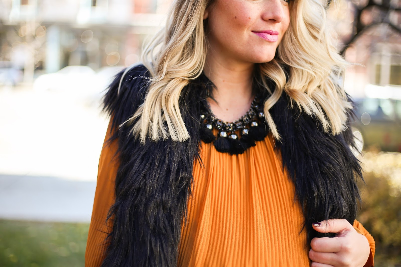 Statement Necklace, Fur Vest, Mustard Tunic