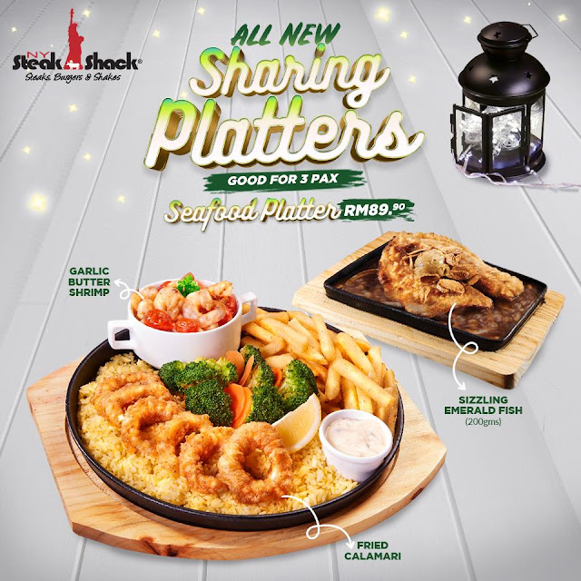 Seafood Platter Sizzling Emerald Fish NY Steak Shack Festive Season New Menu