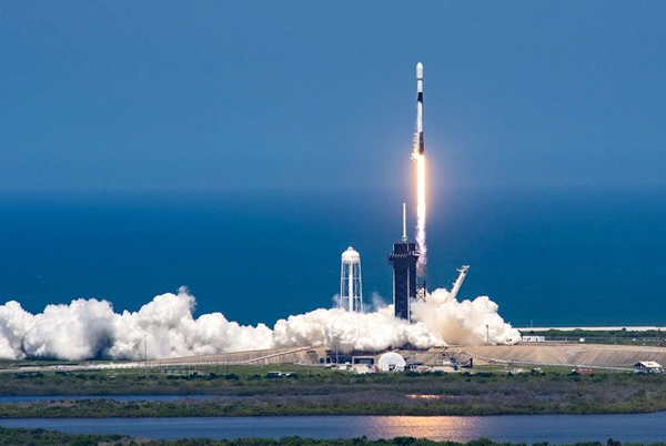 A SpaceX Falcon 9 rocket lifts off from Launch Complex 39A at NASA's Kennedy Space Center in Florida.