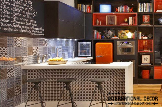 loft interior design style in the home, loft style kitchen with bar and shelves