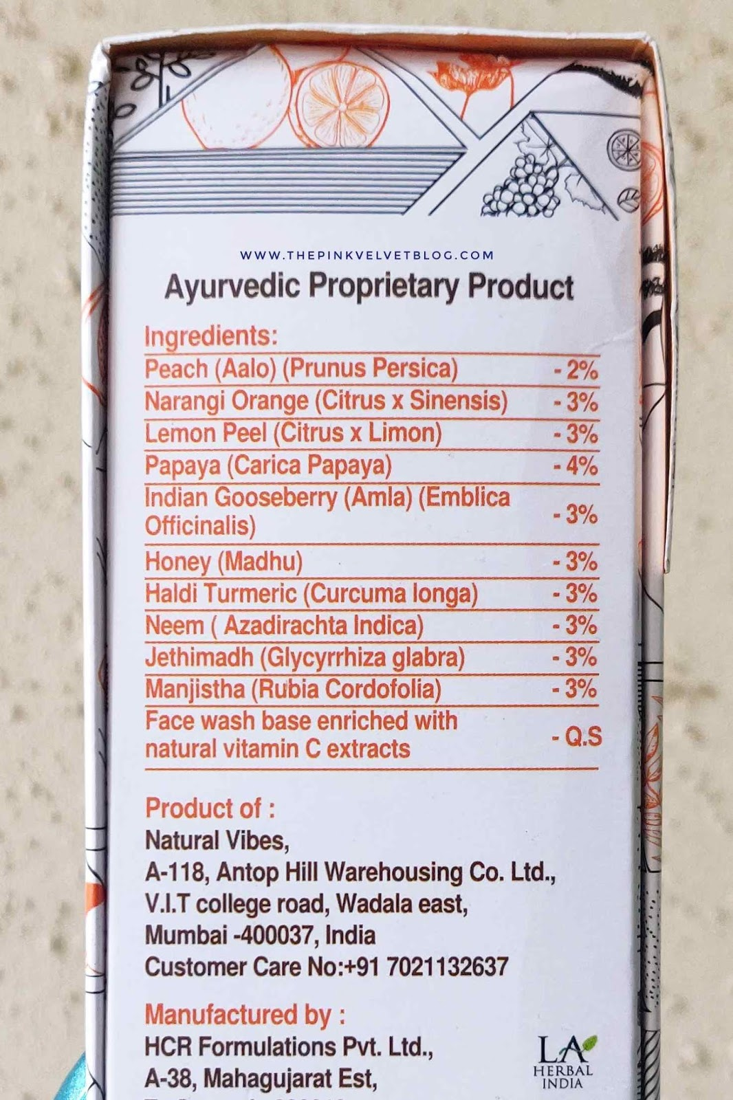 Natural Vibes Brightening Vitamin-C Ayurvedic Face Wash - Review - Ingredients