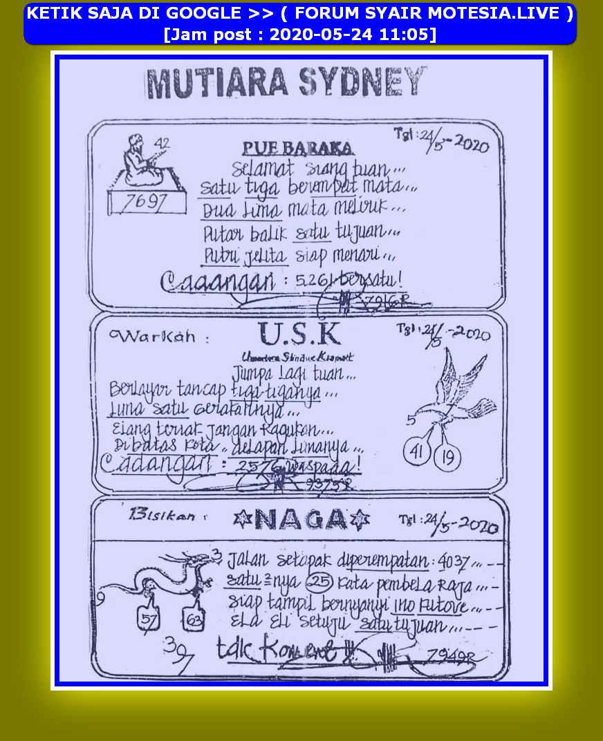 Kode syair Sydney Minggu 24 Mei 2020 22