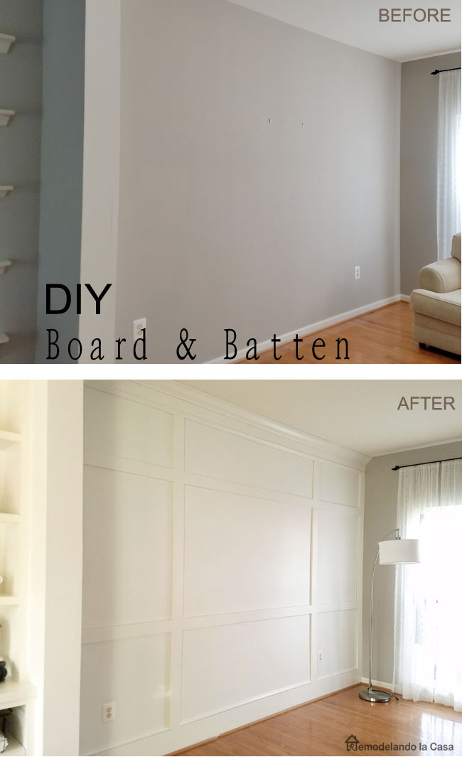 how to install board and batten - before and after