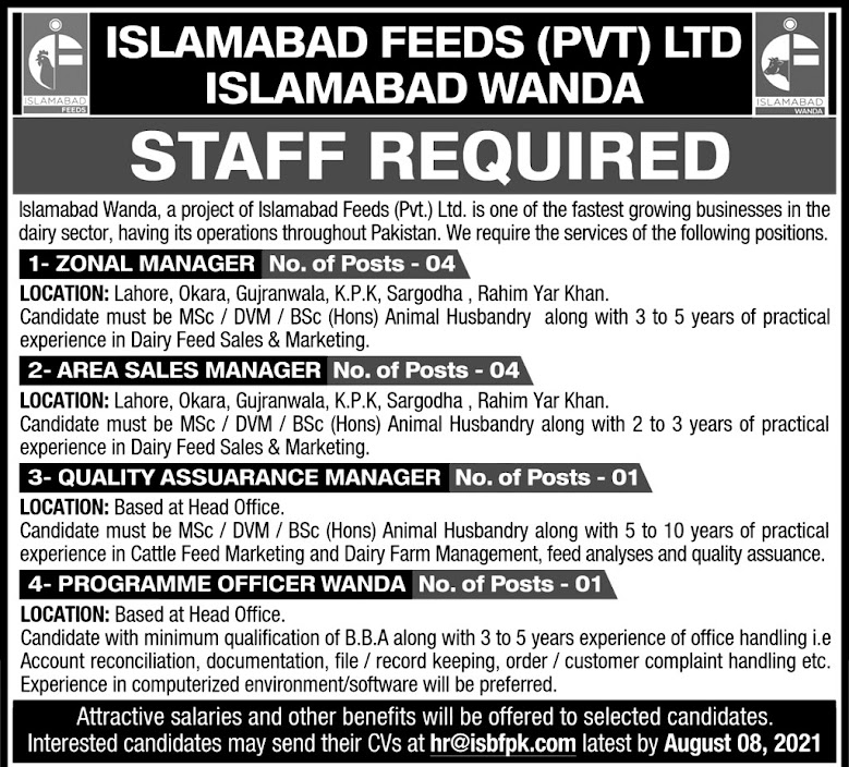 Islamabad Feeds Private Limited  Islamabad Wanda Latest Jobs 2021