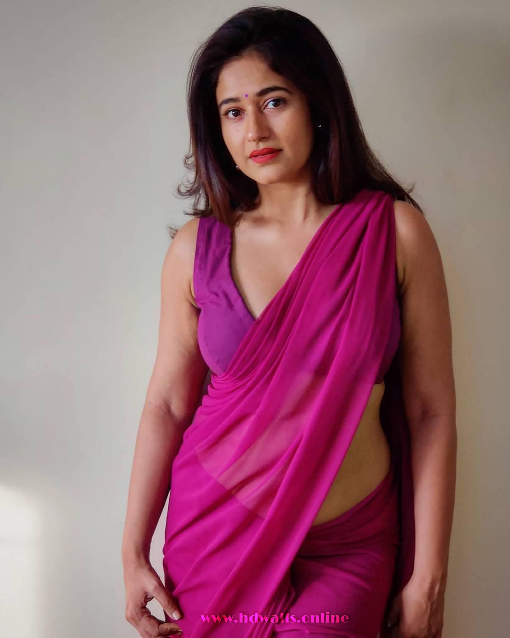 Poonam Bajwa violet colour Saree Photos