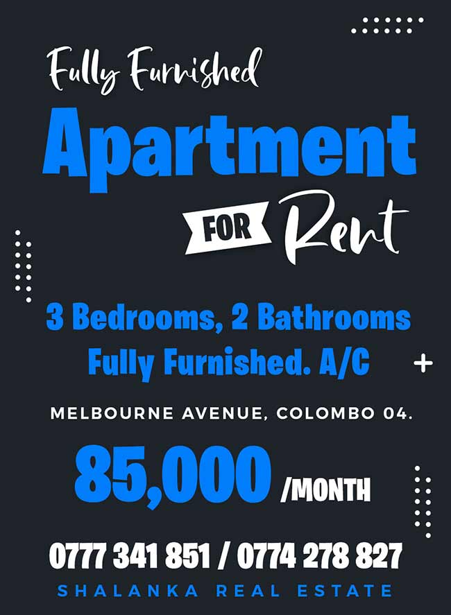 Fully furnished Apartment for rent in Colombo 04
