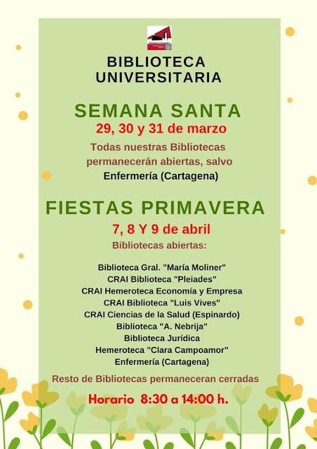Horarios y servicios abiertos, durante las vacaciones de Semana Santa y Fiestas de primavera