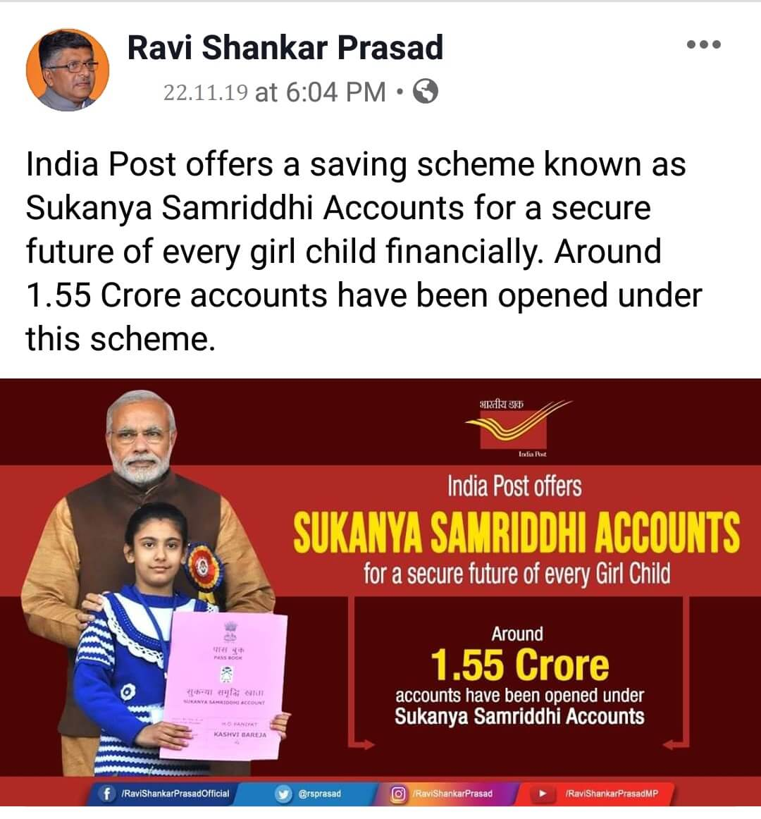 India Post offers a saving scheme known as Sukanya Samriddhi Accounts for secure future of every girl child financially. Around 1.55 Crore accounts have been opended under this scheme in India Post.