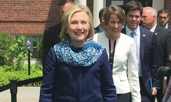 Hillary Clinton Dons Heavy Coat and Scarf in Sweltering 90° Boston Heat