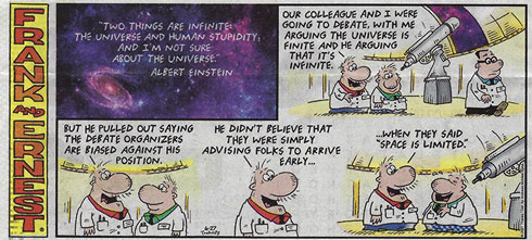 Is it bias or is space really limited? (Source: Frank and Ernest, 27 June 2021)