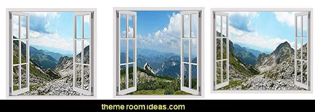 Alps Mountains window mural decal sticker  winter wall murals - ski chalet theme bedroom decorating ideas - modern rustic style winter cabin decor - Swiss alps decoration Alpine theme decorating