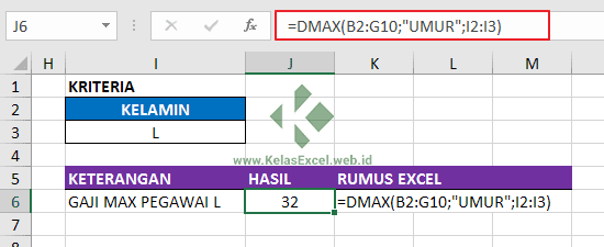 Contoh Fungsi DMAX Excel