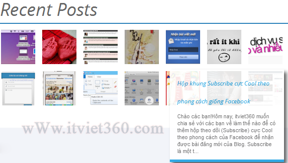 Recent Posts Widget với Thumbnails cho blogger