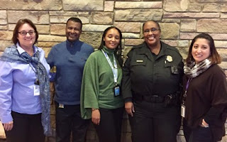Gaithersburg Library Staff with Visiting Police Officer