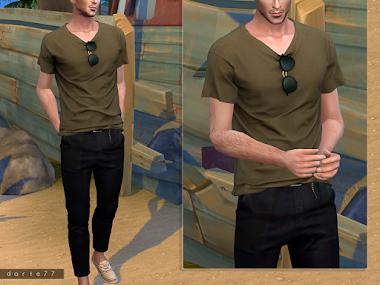 T-Shirt / Belted Slim Pants