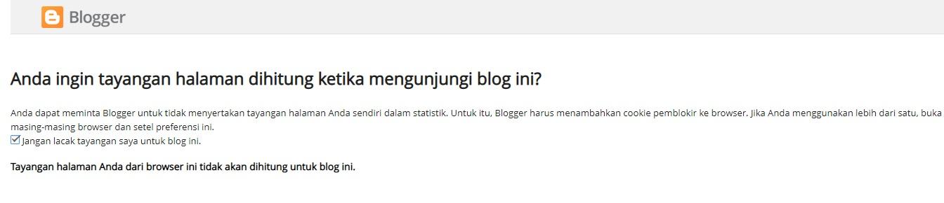 Opsi Nonaktifkan Tayangan Halaman Sendiri dalam statistik Blogger