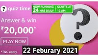 Amazon Quiz Answers Time Daily @ 24 HRS on 22 Feb 2021 Win 20,000 Pay Balance