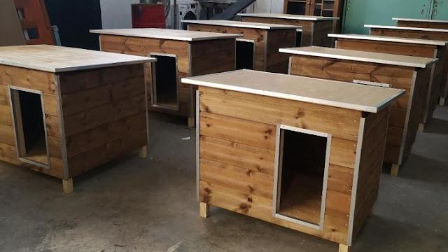 Κρατούμενοι φυλακών κατασκευάζουν ξύλινα σπιτάκια για αδέσποτα