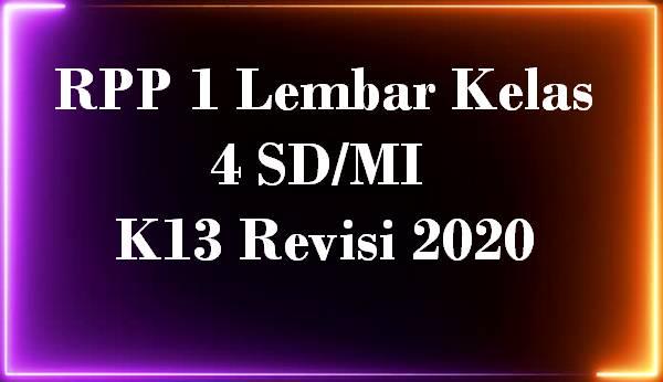 RPP 1 Lembar Kelas 4 SD/MI K13 Revisi 2020