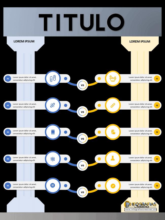 Plantilla de infografia comparativa modelo 8