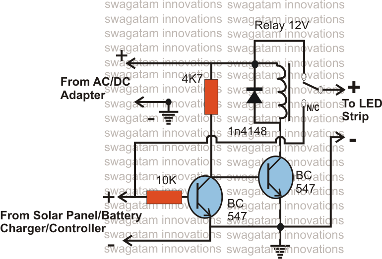 solar battery charger ac dc adapter changeover relay circuit diagram