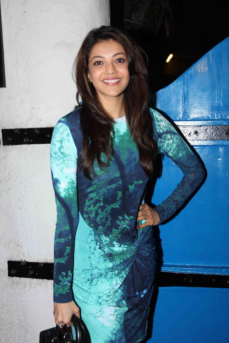 Kajal Agarwal Legs Show Hot Photos In Blue Dress