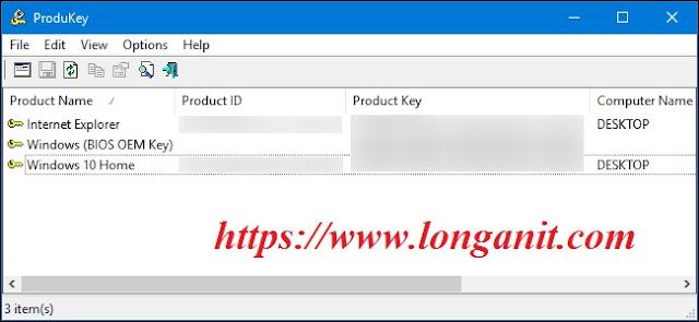 Xem key windows với ProduKey