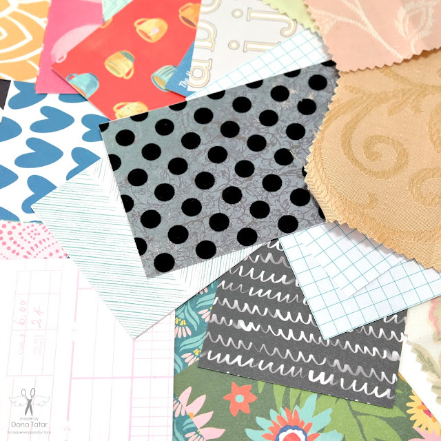 Patterned Paper and Fabric Scraps Cut to Size for a Mini Album