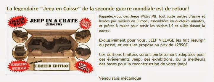 souvenez vous 44 la jeep willys vendue en caisse en 2013 chez jeep village. Black Bedroom Furniture Sets. Home Design Ideas