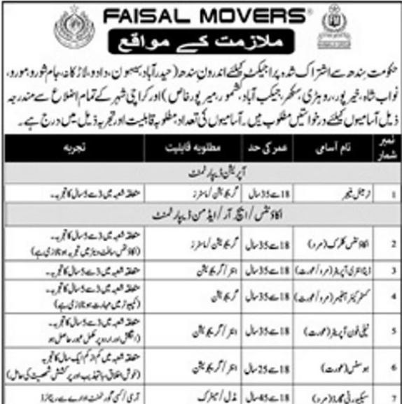 Faisal Movers Jobs for Male and Female 2020