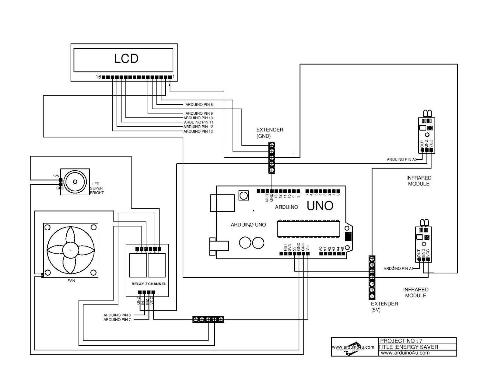 Projek Elektronik Arduino4u 7 Saver System