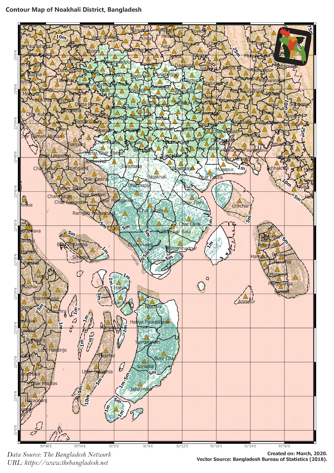 Elevation Map of Noakhali District of Bangladesh