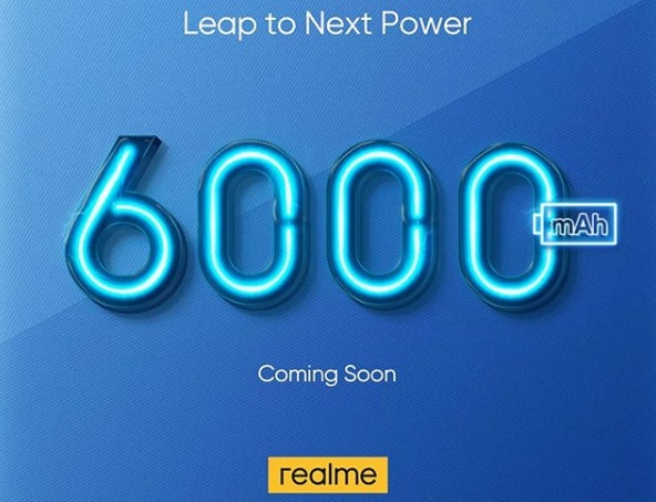 realme smartphone with 6000mAh battery