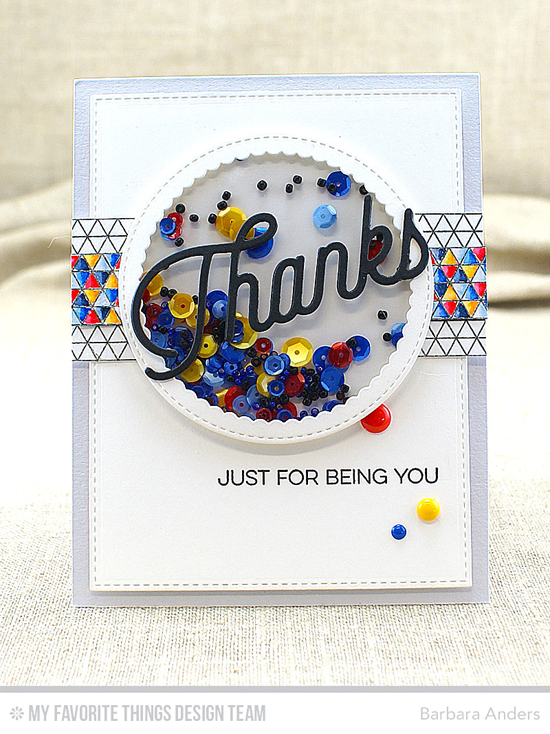Thanks Shaker Card by Barbara Anders featuring the Kind Thanks stamp set, the Geometric Grid Background stamp, and the Twice the Thanks, Stitched Circle Scallop Frames, Circle STAX Set 1, and Blueprints 24 Die-namics #mftstamps
