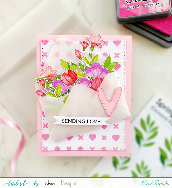Craftangles, Video Tutorial, Quillish, vellum, element sheets, We R Memory Keepers 1-2-3 punch board, Vellum envelope, DIY envelope, Make your own vellum envelope, floral card, Craftangles stencil card