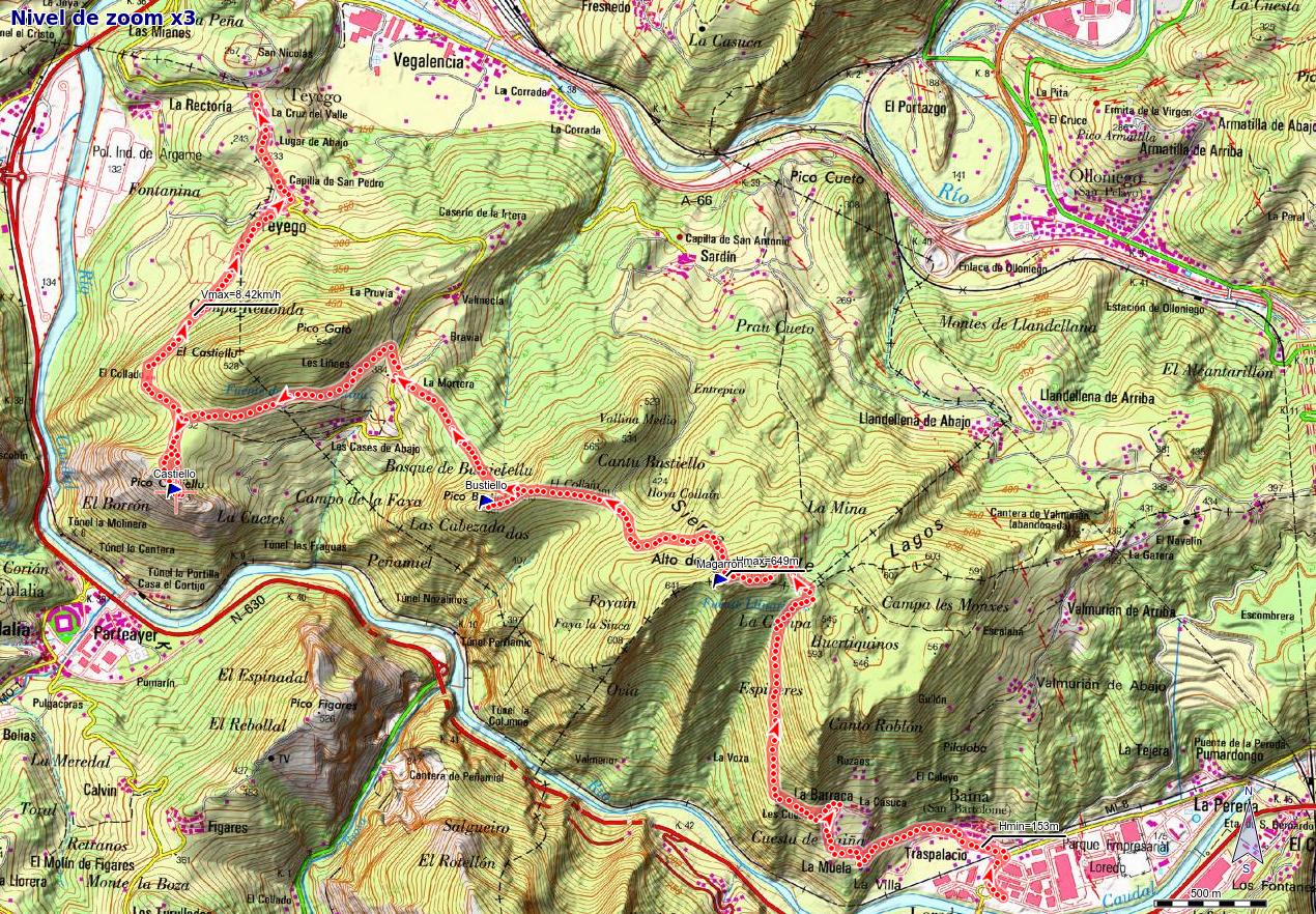 Mapa de la ruta Baiña, Magarrón, Bustiello, Castiello, Tellego