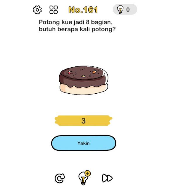 Potong kue jadi 8 bagian, butuh berapa kali potong?