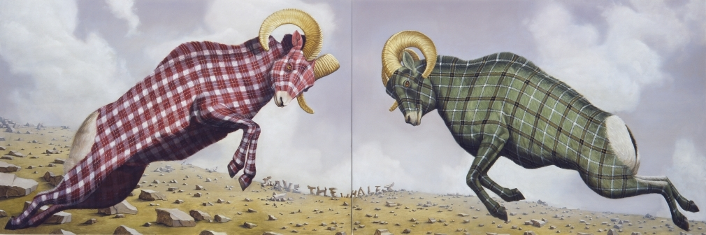 04-Fight-Sean-Landers-Paintings-of-Animals-that-Swap-their-Fur-for-Tartan-Coats-www-designstack-co