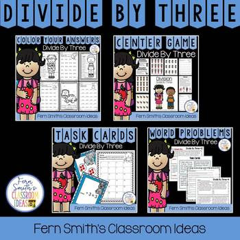 3rd Grade Go Math Divide By 3 Task Cards Centers Color By Number & Word Problems