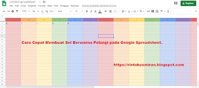 Cara Cepat Membuat Sel Berwarna Pelangi pada Google Spreadsheet.