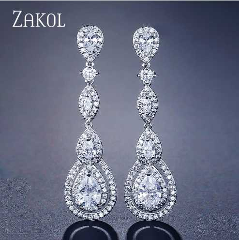 Women Earrings Luxury Pearl Water Drop Elegant Bridal Wedding Jewelry