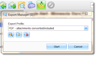 "Location of the ""PDF Attachments - converted"" email export profile."