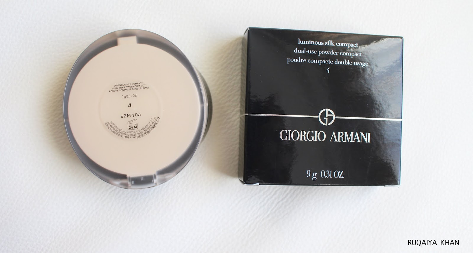Ruqaiya Khan: Giorgio Armani Luminous Silk Powder Foundation in Shade 4 - Review