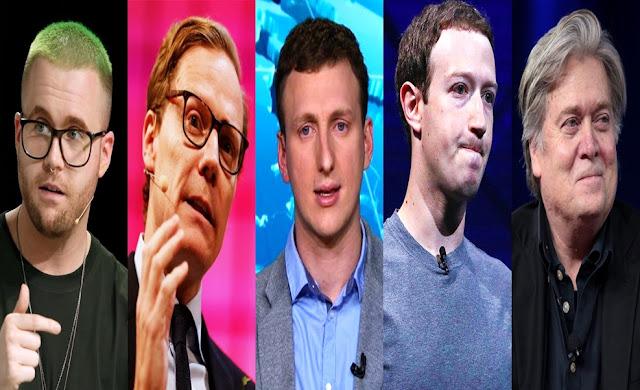 Christopher Wylie, Alexander Nix, Aleksandr Kogan, Mark Zuckerberg, Steve Bannon