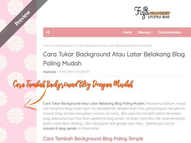 cara tukar latar belakang blog dengan mudah