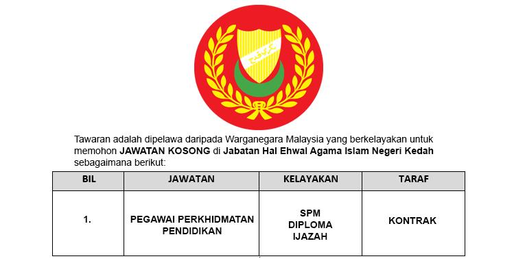 Jawatan Kosong di Jabatan Hal Ehwal Agama Islam Negeri Kedah