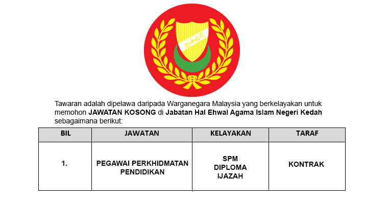 Jawatan Kosong Di Jabatan Hal Ehwal Agama Islam Negeri Kedah Jobcari Com Jawatan Kosong Terkini