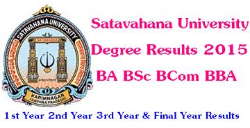 Satavahana University Degree Results 2016