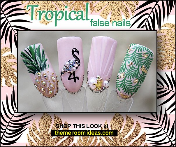 tropical nail designs - Tropical nails - tropical nail art - beach nails -  summer nails - tropical flower nail designs - tropical nail decals - tropical nail decorations - palm tree nail stickers - mermaid nails - beach nail designs -  tropical beach themed nail art  - nautical nails